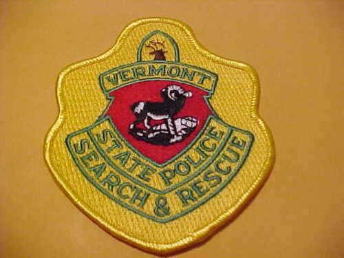 VERMONT STATE POLICE SEARCH & RESCUE POLICE PATCH SHOULDER SIZE UNUSED M