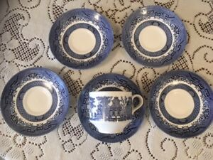 Cup & Saucer Set, Churchill Blue Willow