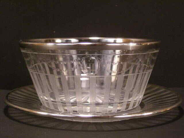 1900 Sterling Silver Overlay Cut Etch Mayonnaise Bowl Underplate Mayo Candy Dish