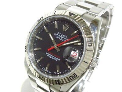 Auth ROLEX Datejust Turn O Graph 116264 Black Z763204 Men's Wrist Watch