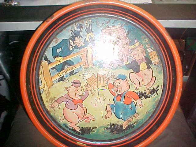 """(VINTAGE) proabishion days 3 liTTLE  pigs  13"""" METAL beer tray VERY RARE"""