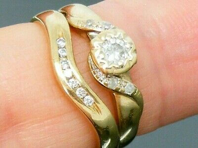 9ct Gold 0.25ct Diamond Bridal Set Hallmarked Rings Size J