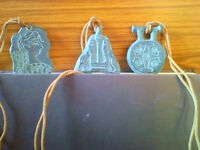 THREE very unusual ceramic Minoan (Greek) pendants on adjustable leather thongs ALL for