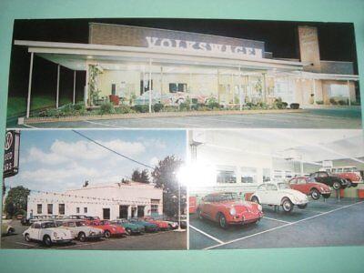 Volkswagen car dealer dealership auto 1960's Philadelphia postcard porsche