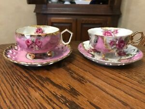 """Japan hand painted footed teacups """"L'amour"""""""