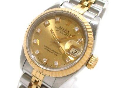 Auth ROLEX Datejust 69173G Silver 18K Yellow Gold Women