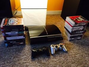 PS3 BUNDLE w/ 2 Controllers, Upgraded SSD Hard Drive + 26 Games