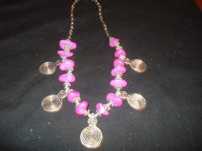 Moroccan african arabic berber spiral pink stones necklace