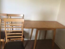 Folding Dining Table and 4 Chairs