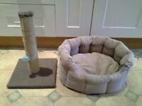Cat scratching post with toy ball