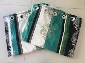Luxury Eyelet Curtains - Teal & Cream