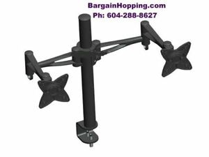 "10 - 23"" 3-Way Adjustable Tilting DUAL TV Monitor Desk Mount"