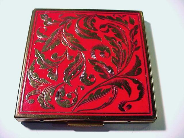 Vintage RED Enamel & Brass REX FIFTH AVENUE  Large ORNATE Powder Compact w/ PUFF
