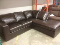 Love/Chaise Sectional in Brown Bonded Leather $988