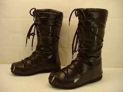 Tecnica Moon Boots Womens 7 M Sz 38 Vinil Winter Snow Brown Gloss Tall Insulated