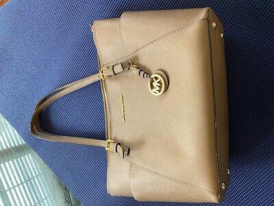 Michael Kors Women's Beige color Leather Travel Large Tote Shoulder Bag (Michael Kors Colorful Handbags)