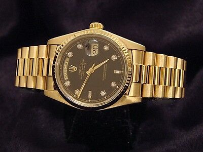 Mens Rolex Solid 18k Yellow Gold Day Date President w/ Black Diamond Dial 18038