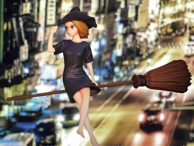 1//24 75mm Resin Figure Model Kit Petty Witch With a Broom Girl Female Unpainted
