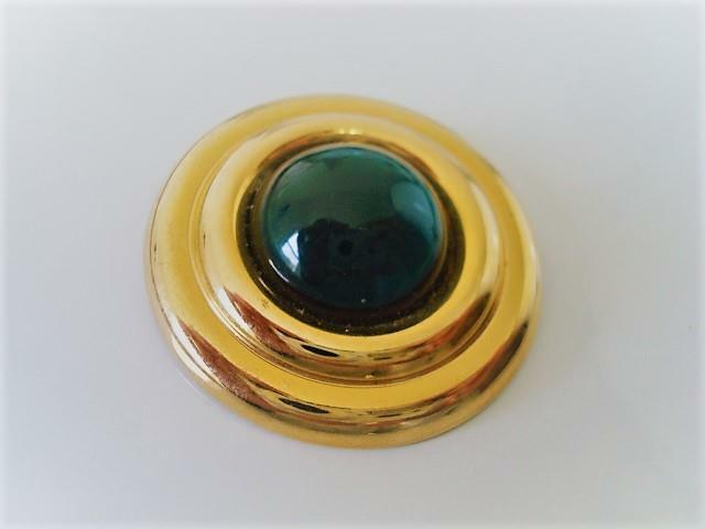 Vintage Scarf Ring Clip With Domed Green Cabochon
