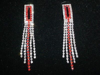 SPARKLING SILVER & RED RHINESTONE CRYSTAL LONG EARRINGS -