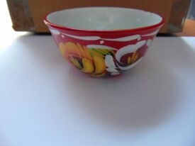 Red Floral Bowl Decorated in the Bargeware Style