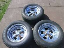 3 X 15 INCH DEEP DISH CHEV HOLDEN CRAGAR STYLE MAG WHEELS TYRES Campbelltown Campbelltown Area Preview