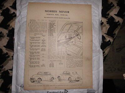MOTOR TRADER MORRIS MINOR  SERIES MM 1949-50 SERVICE SHEETS