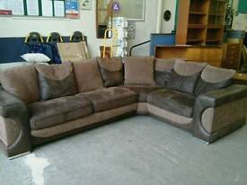 Leather and suede effect corner sofa