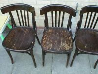 3 OLD WOODEN DINING CHAIRS