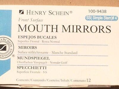 Dental Henry Schein  Mouth Mirror Front Surface Simple Stem  4  12 Box Miltex