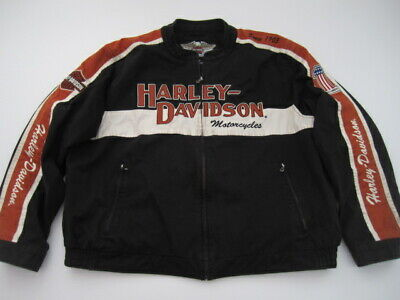 Mens 3XL Harley Davidson Prestige 1 cotton black orange full zip lined - Mens Prestige Cotton Jacket