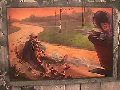1907 SAMPLE CALENDAR - LADY FAST CAR STARTLED MAN  PRINT- TOOT!  TOOT! - CUTE