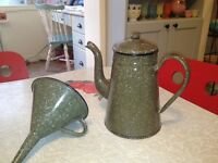"""Home Decor Old French Enamelware Coffee Pot and Funnel. 8""""tall."""
