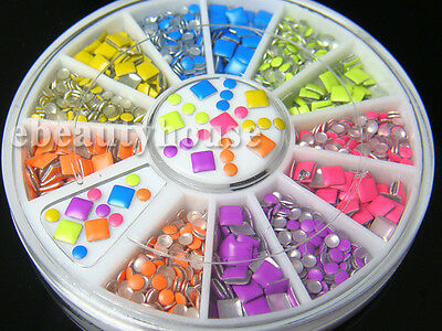 2 Styles 6 Colors Neon Stud Rhinestone Fushion Nail Art DIY Decoration #053HH - Neon Colors Decorations