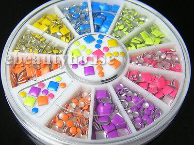 2 Styles 6 Colors Neon Stud Rhinestone Fushion Nail Art DIY Decoration #053HH - Neon Colors Decorations
