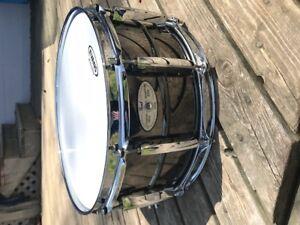 "Pearl 14x6.5"" Black Brass Sensitone Snare Drum"