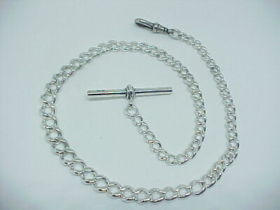Antique solid silver graduated Victorian pocket watch Albert chain 1890s