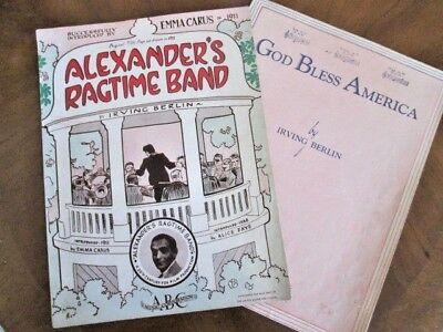 2 IRVING BERLIN sheet music ALEXANDER'S RAGTIME BAND & GOD BLESS AMERICA
