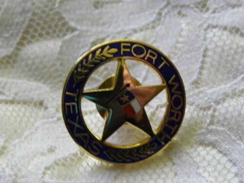 Police Badge Pin Fort Worth Texas  Association Flag Gold Tone Enamel Hat Lapel