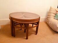 Nathan Trinity Teak C1960s Retro Glass Top Coffee Table