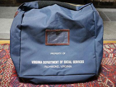 Vintage 70S Virginia Dept Of Social Services Large Document Courier Bag Case