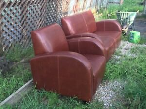 Leather Love seat & Chair