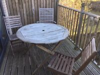 Hardwood garden table and 4 chairs