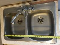 double Stainless Steel Sink with Moen Tap & pull out Sprayer