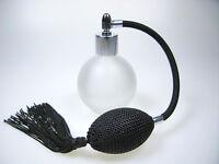 Perfume Atomizador 78ml Redondo Cristal Esmerilado, Negro Borla ,plata Ajuste & -  - ebay.es