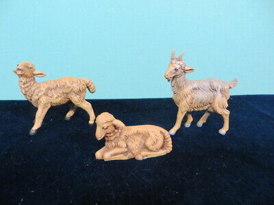 """Fontanini Nativity Set of 2 Brown Sheep & 1 Goat Figurines 5"""" Scale Italy"""