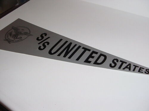 "SS UNITED STATES LINES  Large Aluminum Wall Pennant  /  27"" in Length"