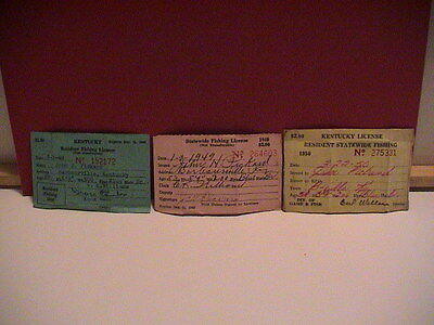LOT /3 KENTUCKY DIV OF GAME & FISH 1948 1949 1950 RESIDENT FISHING LICENSES