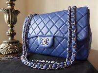 Medium 10 inch Chanel Flap Bag in Dark Blue Lambskin with Shiny Hardware