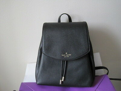 NWT KATE SPADE SMALL BREEZY MULBERRY STREET BLACK LEATHER BACKPACK~$328~WKRU393